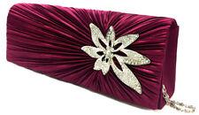 De alta calidad de satén nupcial Baile de graduación Noche Clutch Bag Elegante Cristal Broche Bolso de mano