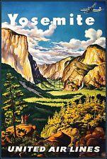 Yosemite California 1945 United Air Vintage Poster Print Travel Tourism Airline