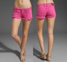 FRANKIE B Women's Jeans Hot Pink  Sexy Frayed Hem Stud Lolita Denim Shorts
