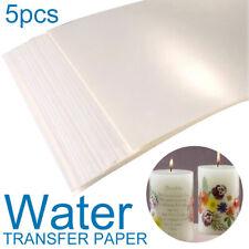 5PCS Clear/White A4 Water Slide Decal Paper Inkjet Waterslide Transfer Paper Kit