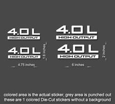 4 x Jeep 4.0 L Wrangler Decal stickers hood fender TJ JK CJ YJ rubicon