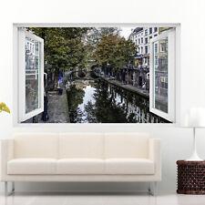 Netherlands Canal Utrecht Wall Stickers 3d Art Mural Decal Home Office Decor SH3