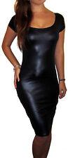 UK PVC Leather Wet Look Stretch Bodycon Midi Womens Dress Black 8 10 12 14 16 18