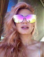 Cat Eye Rounded Rimless Color Mirror Reflective Lenses Sharp Edges Sunglasses