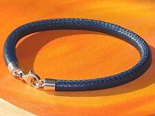 Ladies 5mm Navy Blue nappa leather & sterling silver bracelet by Lyme Bay Art.