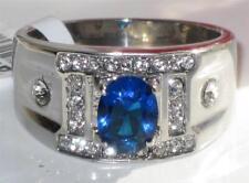TK496pb OVAL  MENS MAN PINKY SIGNET SAPPHIRE PAVE SET SIMULATED DIAMOND RING