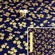 JAPANESE GOLD NAVY Meter/Squares Cotton Fabric Oriental Kimono Cherry Blossom