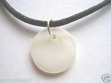 Classic surf style shell disc pendant black cotton cord necklace - choose colour