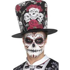 Men's  Day of the Dead Skull & Rose Top Hat Halloween Voodoo Fancy Dress Stag Do