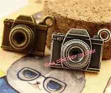 P1492 8pc Antique Bronze/silver camera Pendant Bead Charms Jewellery Making DIY