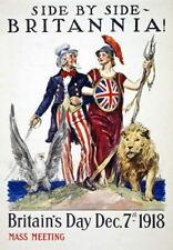 83954 Uncle Sam & Britannia Britain Day British Decor WALL PRINT POSTER CA