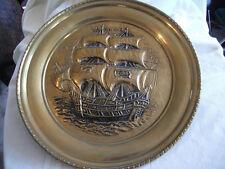 "Brass ship plate wall hanging England 16.5"""