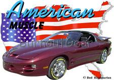 2000 Burgundy Pontiac Trans Am Custom Hot Rod USA T-Shirt 00 Muscle Car Tees
