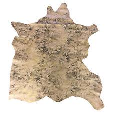 Beige Leather Hides Camouflage Print Genuine Lamb Skin Soft Thin DIY Fabric F897