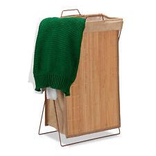 Wäschekorb Bambus Wäschesammler 40 l Wäschesack Wäschebehälter Faltwäschekorb