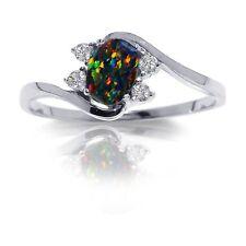 Oval Australian Black Fire Opal Yin Yang White Sapphire CZ Sterling Silver Ring