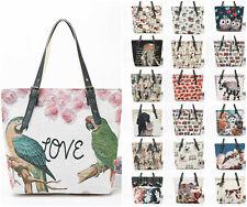 Ladies Beautiful Canvas Shopper With PU Handle Women Large Printed Shoulder Bag