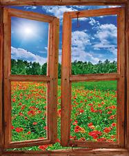 Sticker fenêtre trompe l'oeil Coquelicot réf 739