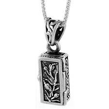 """Sterling Silver Prayer Box Pendant w/ Tulips Design, 18"""" Italian Box Chain"""