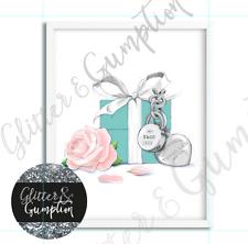 Fashion art watercolour drawing tiffany & co box and rose beauty room OFFICE Art