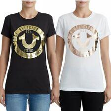 True Religion Women's Circle Horseshoe Metallic Foil Logo Tee T-Shirt