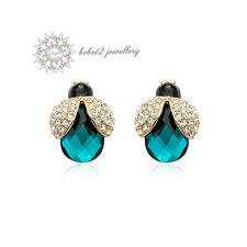 18K Rose Gold Plated/Aqua Crystal Ladybird/Animal Stud Earring/RGE262