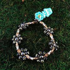 HOTI Hemp Handmade Black Painted Flowers Wood Bead Floral Anklet Ankle Bracelet