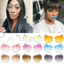 Womens Oversized Designer Clear Lens Sunglasses Rimless Metal Frame Glasses UK