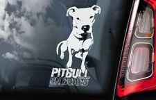 Pitbull on Board - Car Window Sticker - Pit Bull Terrier Dog Sign Decal - V03