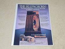 Klipsch Klipschorn Speaker Ad, 1980, 1 pg, Articles