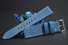CORREA RELOJ 22 20 18MM AUTENTICO LAGARTO LIGHT BLUE AZUL MA STRAP HANDMADE BAND