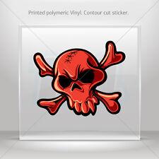 Sticker Decals Red Crossbones Skull Car Atv Bike Garage bike st5 ZE478