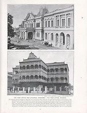 1897 VICTORIAN PRINT ~ POST OFFICE & EXCHANGE SINGAPORE CHINA ~ RANGOON ~ TEXT