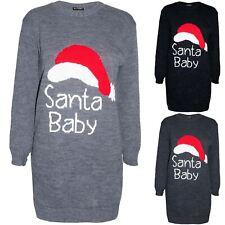 Womens Christmas Baggy Knitted Santa Baby Ladies Xmas Long Sleeves Jumper Dress