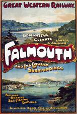 TR60 Vintage Falmouth England GWR Railway Poster Re-Print A4