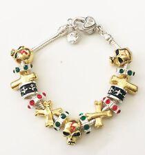 Silver European Style Charm Bracelet Silver Chain & Glass Rings 18-20cm JB29