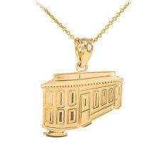 14k Gold San Francisco Cable Car Pendant Necklace Powell-Mason Line Powell-Hyde