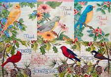 BIRD MOTIF THANK YOU CARDS * BLUEBIRD * CARDINAL * FINCH * ROBIN * SHIPPED FAST!