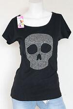 Damen T-Shirt Totenkopf Motiv-Nieten Rundhalsshirt 4versch. Farben Einheitsgröße