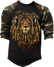 Men's Dreadlocks Rasta Lion Camo Baseball Raglan T Shirt Reggae Jamaican Ganja