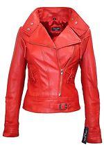 Lowa Ladies Red Rock Biker Style Designer Real Lambskin Leather Jacket