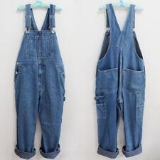 Cotton Denim Jumpsuits Overalls Men's Suspender Trousers Jeans Pants Plus size