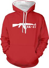 AK 47 Semi Automatic Rifle Gun Stencil Side Firearms Two Tone Hoodie Sweatshirt