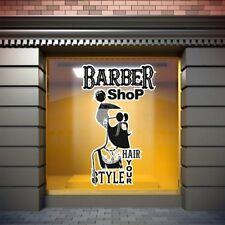 Barber Shop Window Stickers Signs Decal Salon Modern Hairdresser Unique Stiker