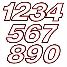 sticker number red white helmet adesivi numeri bianco rosso nero 2 pz. cm. 10-5
