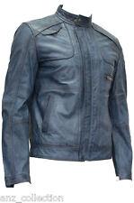 Homme hercules bleu designer classique lavé italien cuir d'agneau doux veste en cuir