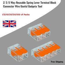 Spring Cage Wire Connectors Terminal Blocks 2/3/5 Way Reusable Spring Connectors