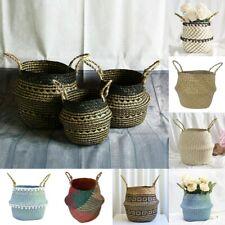 Elegant Seagrass Belly Basket Storage Plant Pot Baskets Laundry Bag Garden Decor