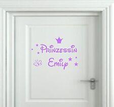 Wandtattoo Kinderzimmer Türschild Prinzessin  Wunschnamen Krone Sterne Namen