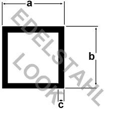 Alu Vierkantrohr EDELSTAHL LOOK 1 Meter ELOXIERT Aluprofil Rohr Vierkant